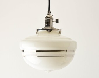 Pendant Light - Polished Nickel - Mid Century - Modern - Industrial - White - Silver Painted Banding - Schoolhouse Glass Globe [SUMNER]