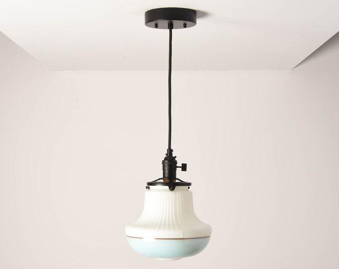 Duvall Pendant Light [Matte Black - Mid Century - Modern - Industrial - Art Deco - White - Turquoise Blue - Painted Banding Glass Globe]