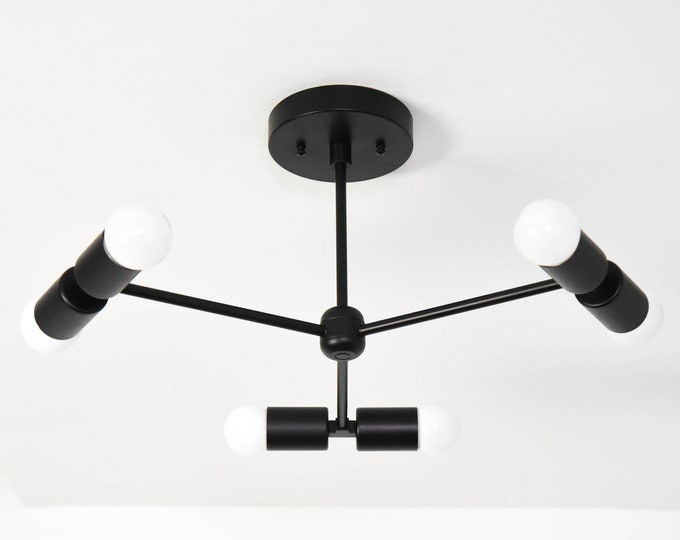 Modern Hanging Light - Mid Century Chandelier - Matte Black - Industrial - Modern - 3 Arm - 6 Light - Sputnik - UL Listed [MELBOURNE]