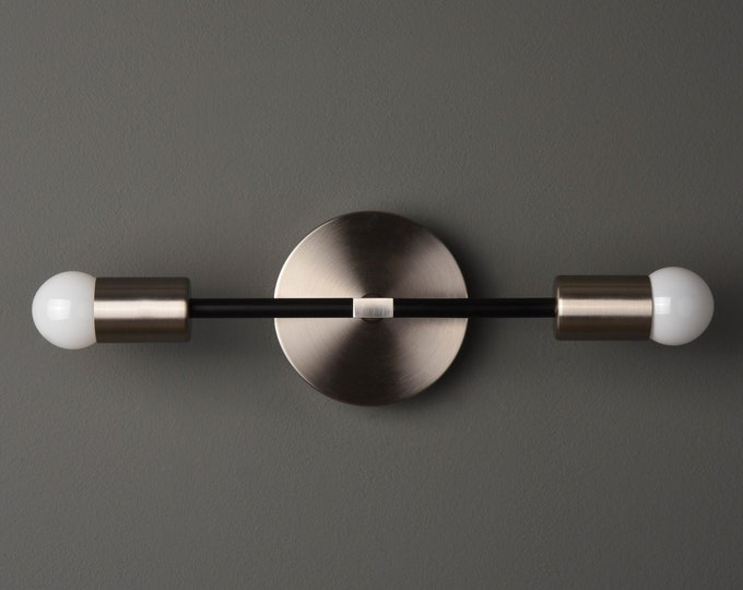 Modern Vanity Light - Mid Century Wall Sconce - Black & Brushed Nickel - Industrial - Wall Light - Bathroom Vanity - UL Listed [BELEN]