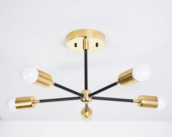 Houston Chandelier [Black & Brass - Mid Century - Industrial - Modern - Sputnik - Pinwheel - 5 Arm - 5 Light - UL Listed]