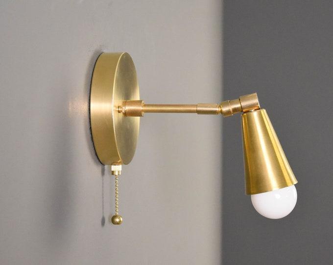 Pull Chain Light - Gold Raw Brass - Wall Sconce - Mid Century - Modern - Industrial - Adjustable - Bedside Light - Wall Light [HAYDEN]