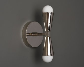Modern Wall Sconce - Bathroom Vanity Light - Polished Nickel - Mid Century - Industrial - UL Listed [ANSONIA]