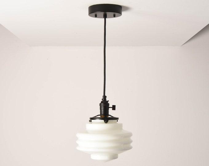 Anchorage Pendant Light [Matte Black - Mid Century - Modern - Industrial - White - Art Deco - Opal - Handblown Glass Globe]