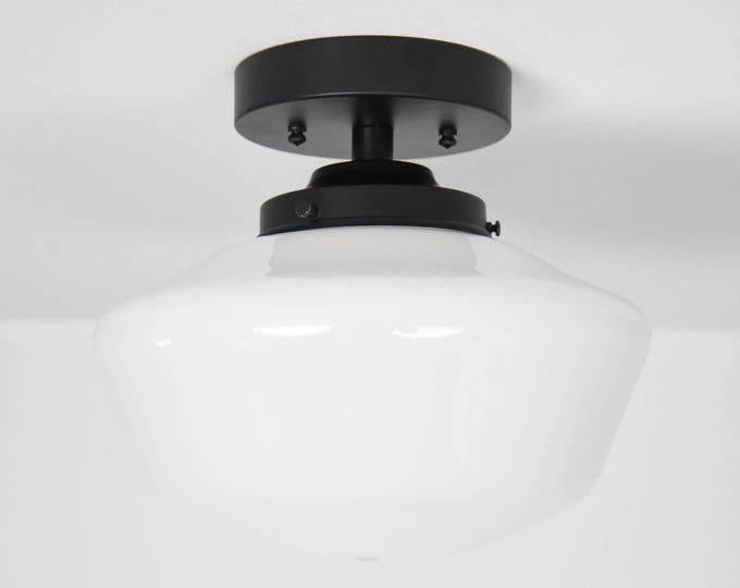 Semi Flush Ceiling Light - Matte Black - Mid Century - Modern - Farmhouse - Schoolhouse Shade - Ceiling Lighting - UL Listed [MARINA]