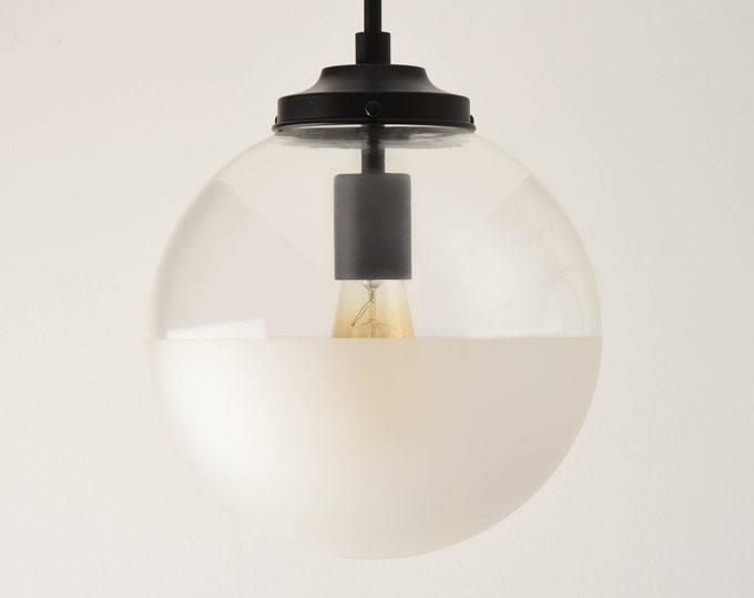 Globe Pendant Light - Matte Black - Mid Century - Modern - Industrial - Half Frosted - 10 inch - Glass Globe [ASTORIA]