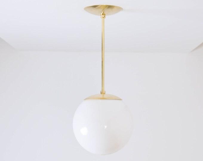 Globe Pendant Light - Raw Brass - Mid Century - Modern - Industrial - Neckless White Globe - Vanity - Single Light - UL Listed [VISTA]