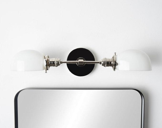Industrial Vanity Light - Polished Nickel - Mid Century - Modern - Wall Light - Opal Glass Shades - Bathroom Vanity - UL Listed [BARRE]