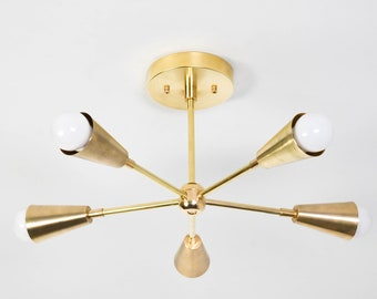 Sputnik Chandelier - Gold Hanging Light - Mid Century - Industrial - Modern - Chandelier Lighting - Ceiling Light - UL Listed [ISTANBUL]