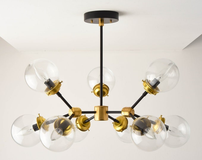 Ceiling Light - Chandelier - Black & Brass - Mid Century - Industrial - Modern - Tree Branch - Globe - UL Listed [STOCKHOLM]