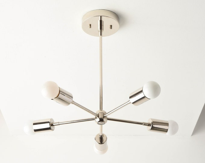 Sputnik Chandelier - Silver - Polished Nickel - Mid Century - Modern Chandelier Lighting - Industrial - Pinwheel - UL Listed [HOUSTON]