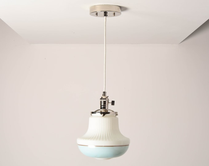 Duvall Pendant Light [Polished Nickel - Mid Century - Modern - Industrial - Art Deco - White - Turquoise Blue - Painted Banding Glass Globe]
