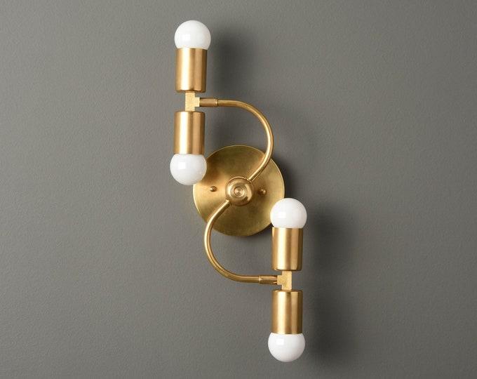 Wall Sconce - Raw Brass - Mid Century - Modern - Industrial - Wall Light - Bathroom Vanity - UL Listed [ALVARADO]
