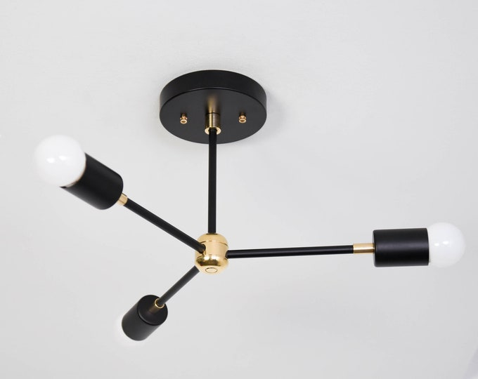 Chandelier - Black & Brass - Mid Century - Industrial - Modern - Pinwheel - Sputnik - 3 Arm - Minimal -Light - UL Listed [SEOUL]