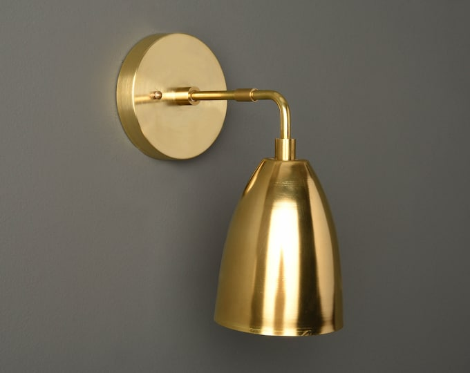 Mid Century Wall Sconce - Gold Wall Light - Modern - Industrial - Bell Shade - Bathroom Vanity - UL Listed [ROSWELL]
