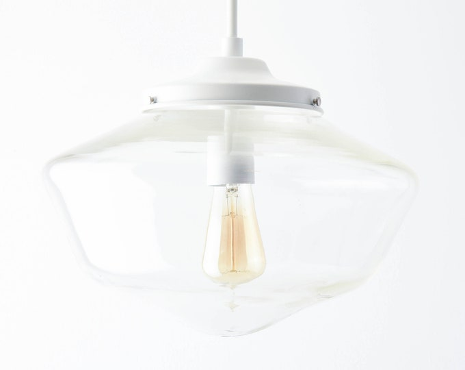 Pendant Light - Matte White - Mid Century - Modern - Industrial - Clear - 14 inch - Schoolhouse Glass Globe [CARBONDALE]