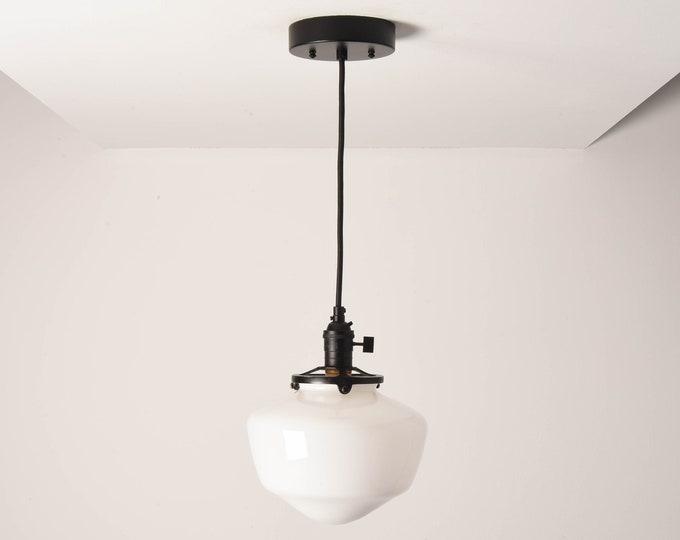 Augusta Pendant Light [Matte Black - Mid Century - Modern - Industrial - White - Schoolhouse Glass Globe - Cloth Wire -Ceiling Canopy Mount]