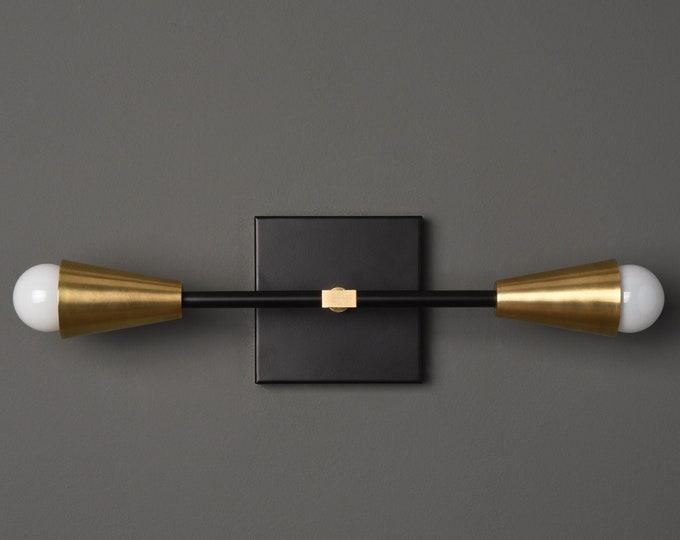 Industrial Wall Light - Black & Brass - Mid Century - Modern - Bathroom Vanity - UL Listed [WALDEN]