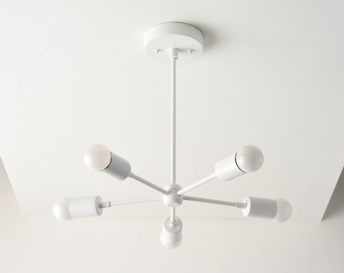 Sputnik Chandelier - Modern Hanging Light - White - Mid Century - Industrial - Pinwheel - UL Listed [HOUSTON]
