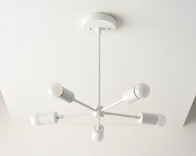 Sputnik Chandelier - White - Matte White - Mid Century - Modern Chandelier Lighting - Industrial - Pinwheel - UL Listed [HOUSTON]