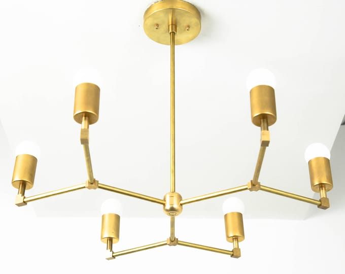 Modern Chandelier Lighting - Raw Brass - Mid Century - Industrial - Sputnik - Hanging - Light - UL Listed [BUDAPEST]