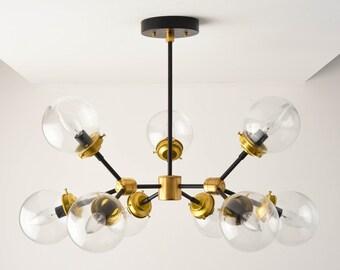 Chandelier - Black & Brass - Mid Century - Industrial - Modern - Tree Branch - Candelabra - 9 Light - 5 inch - Globe - UL Listed [STOCKHOLM]