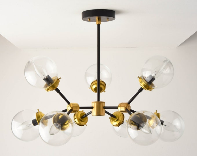 Ceiling Light - Chandelier - Black & Brass - Mid Century - Industrial - Modern - Tree Branch - Candelabra - Globe - UL Listed [STOCKHOLM]