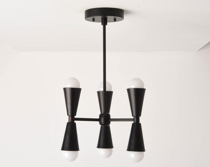 Chandelier - Matte Black - Mid Century - Industrial - Modern - Hanging - Lighting - 3 Arm - 6 Light - UL Listed [KATHMANDU]