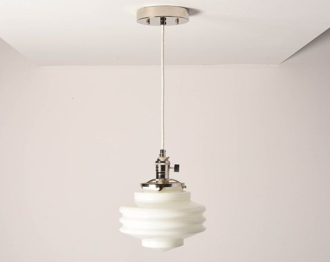 Anchorage Pendant Light [Polished Nickel - Mid Century - Modern - Industrial - White - Art Deco - Opal - Handblown Glass Globe]