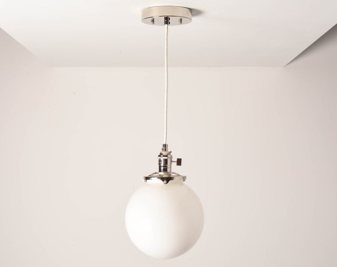 Toledo Pendant Light [Polished Nickel - Mid Century - Modern - Industrial - White Glass Globe - Cloth Wire - Ceiling Canopy Mount - Edison]