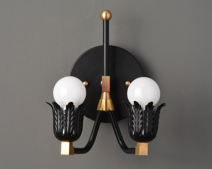 Decorative Wall Sconce - Modern Wall Light - Black & Brass - Mid Century - Industrial - Bathroom Vanity - UL Listed [ACKERLY]
