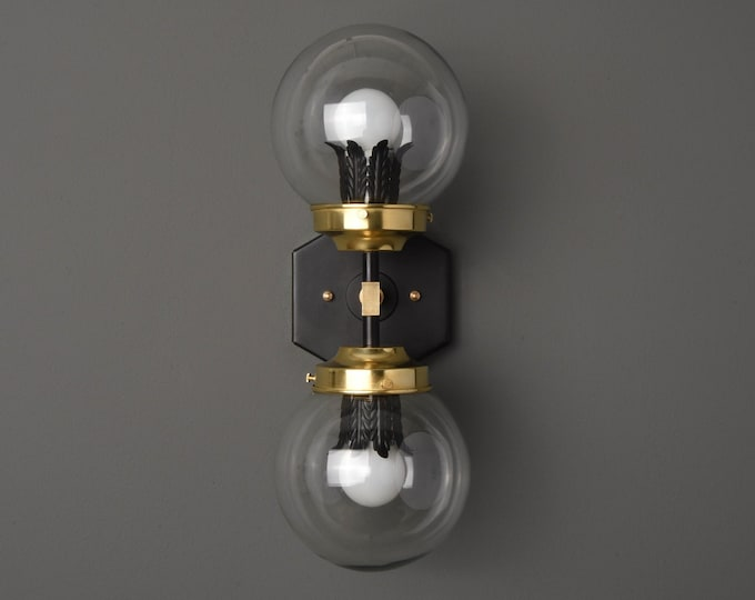 Modern Wall Sconce - Black & Brass - Mid Century - Industrial - Decorative - Bathroom Vanity - UL Listed [ADRIAN]