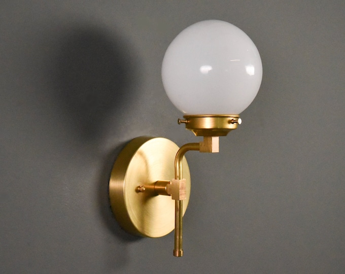Wall Sconce - Raw Brass - Mid Century - Modern - Industrial - Wall Light - Glass Globe - Bathroom Vanity - UL Listed [BRIGHTON]
