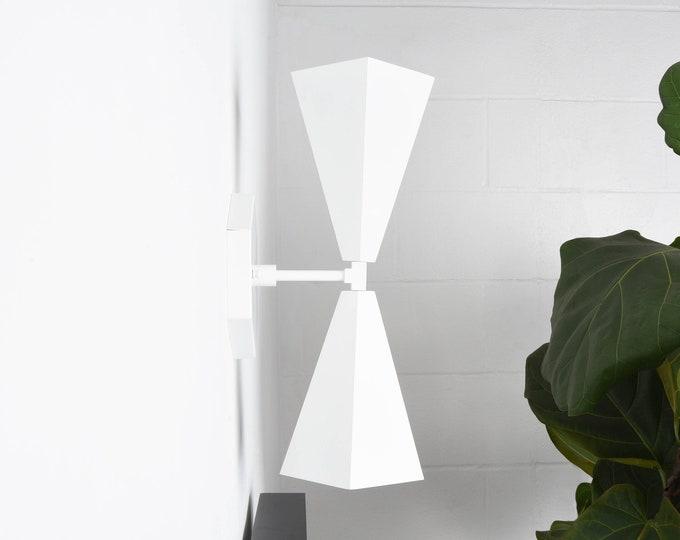 White Vanity Light - Modern Sconce - Geometric - Mid Century - Wall Light - Hall Light - Bathroom Vanity - UL Listed [ANDERSON]