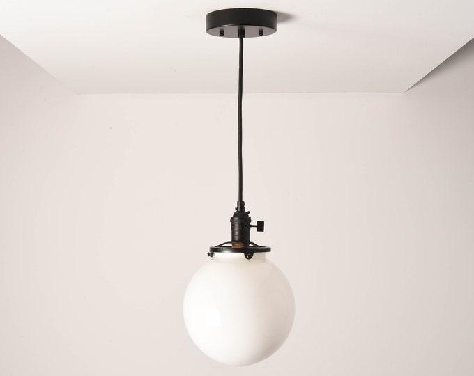 Toledo Pendant Light [Matte Black - Mid Century - Modern - Industrial - White Glass Globe - Cloth Wire - Ceiling Canopy Mount - Edison]