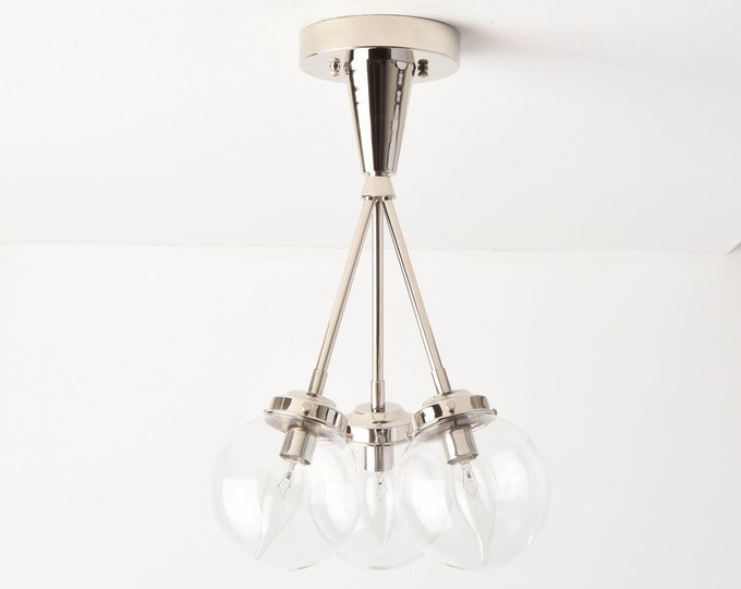Semi Flush Ceiling Light - Polished Nickel - Mid Century - Modern - Industrial - Candelabra - Glass Globe - UL Listed [IRVINE]