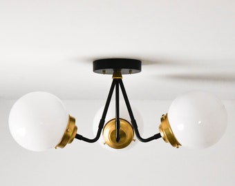 Semi Flush Ceiling Light - Black & Brass - Mid Century - Industrial - Modern - 3 Bulb - Glass Globe - Lighting - UL Listed [FRESNO]