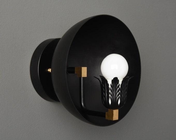 Wall Sconce - Black & Brass - Mid Century - Modern - Industrial - Decorative - Wall Light - Art Light - Bathroom Vanity - UL Listed [ALTON]