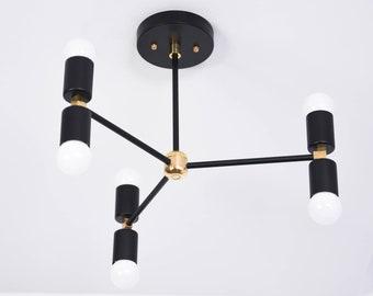 Industrial chandelier etsy chicago chandelier black brass mid century industrial modern sputnik pinwheel hanging large 6 light 3 arm ul listed aloadofball Images