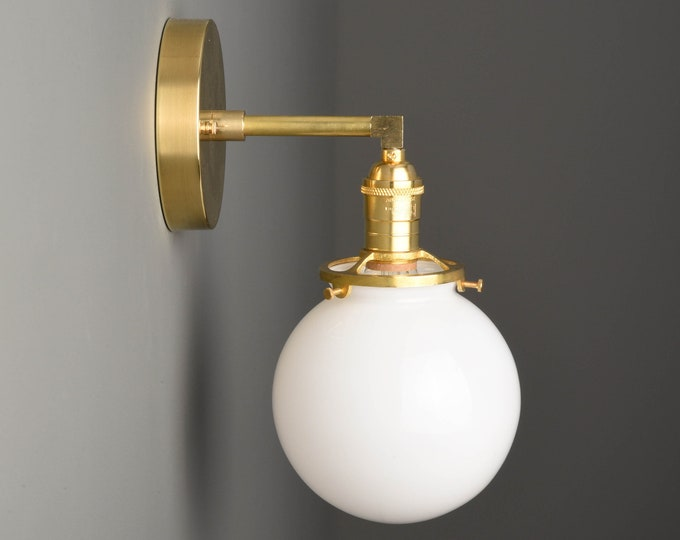 Industrial Globe Sconce - Raw Brass - Mid Century - Modern - Wall Light - Glass Globe - Bathroom Vanity - UL Listed [TELLURIDE]