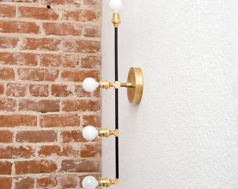 Inverness Wall Sconce [Black & Brass - Mid Century - Modern - Industrial - Vertical - 4 Light - 4 Bulb - Offset - Vanity - UL Listed]