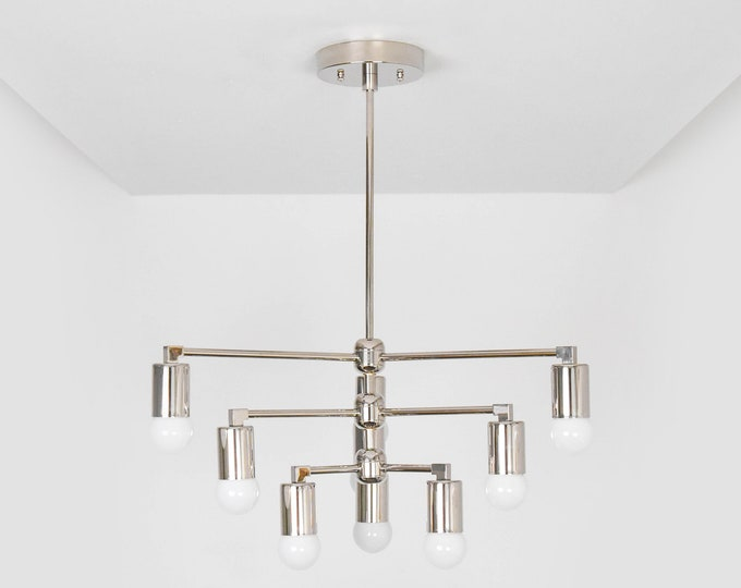 Modern Chandelier Light - Polished Nickel - Mid Century - Industrial - Modern - Geometric - Ceiling Light - UL Listed [LONDON]