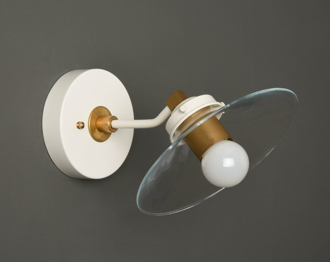 Industrial Wall Sconce - White & Gold - Mid Century - Modern - Wall Light - Glass Shade - Bathroom Vanity - UL Listed [AMES]