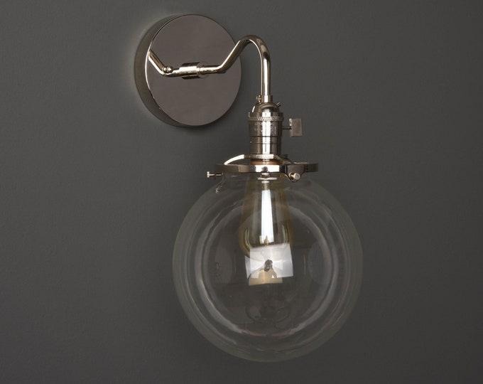 Wall Sconce - Polished Nickel - Mid Century - Modern - Industrial - Clear 8 Inch Glass Globe - Bathroom Vanity - UL Listed [ALTHA]