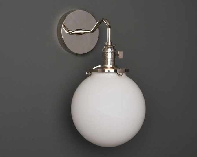 Wall Sconce - Polished Nickel - Mid Century - Modern - Industrial - White 8 Inch Glass Globe - Bathroom Vanity - UL Listed [ALTHA]