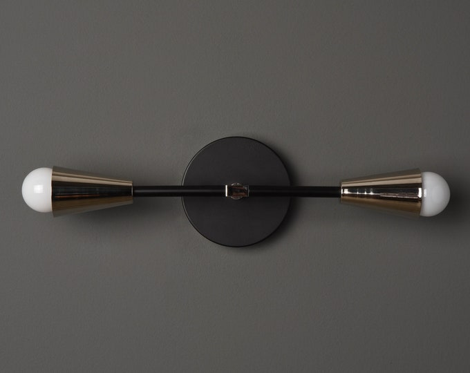 Mid Century Wall Sconce - Black/Pol. Nickel - Modern - Industrial - Wall Light - Bathroom Vanity - UL Listed [WALDEN]