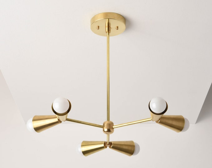 Modern Chandelier Lighting - Mid Century Gold Hanging - Gold - Industrial - Sputnik - Pinwheel - Light - UL Listed [MONTREAL]