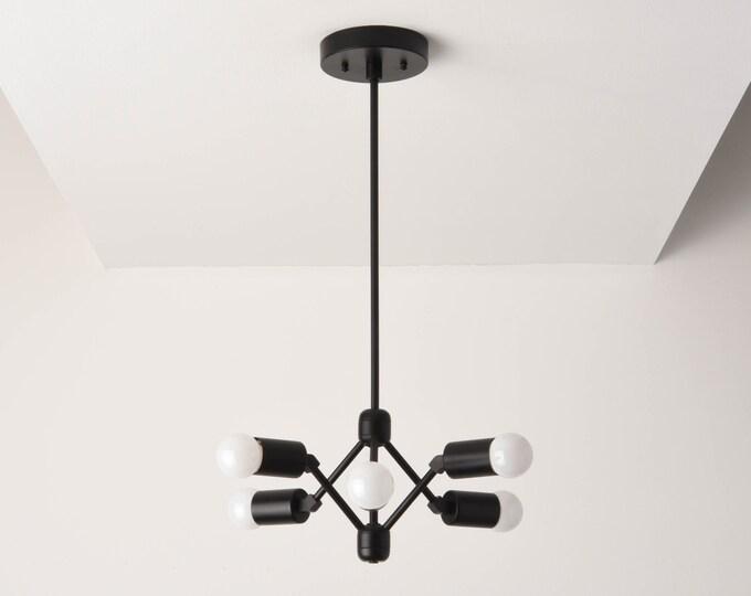 Phoenix Chandelier [Matte Black - Mid Century - Industrial - Modern - Pinwheel - Sputnik - 6 Arm - Edison - Hanging - Light - UL Listed]