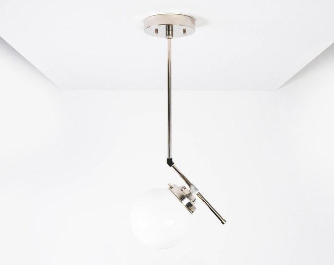 Globe Pendant Light - Polished Nickel - Mid Century - Modern - Industrial - Glass Globe - Vanity - UL Listed [ROSEMEAD]