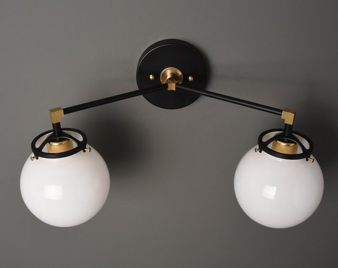 Modern Globe Sconce - Black & Brass - Mid Century - Industrial - Glass Globes - Bathroom Vanity - UL Listed [ACTON]
